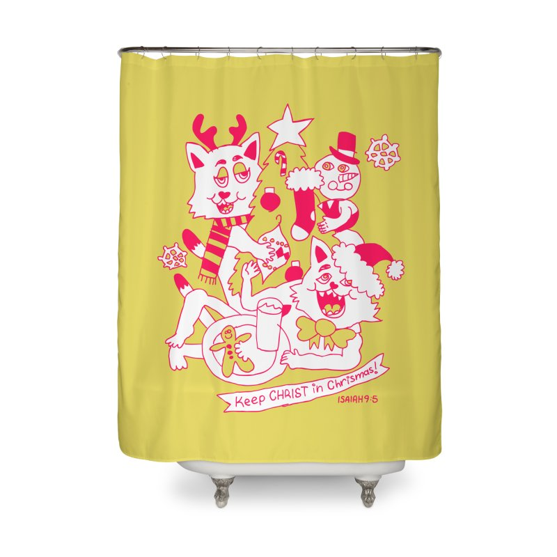 Catfriend Chrismas Lovers Home Shower Curtain by Spencer Fruhling's Artist Shop