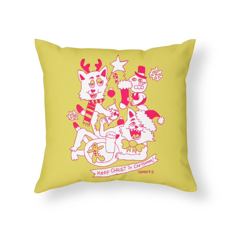 Catfriend Chrismas Lovers Home Throw Pillow by Spencer Fruhling's Artist Shop
