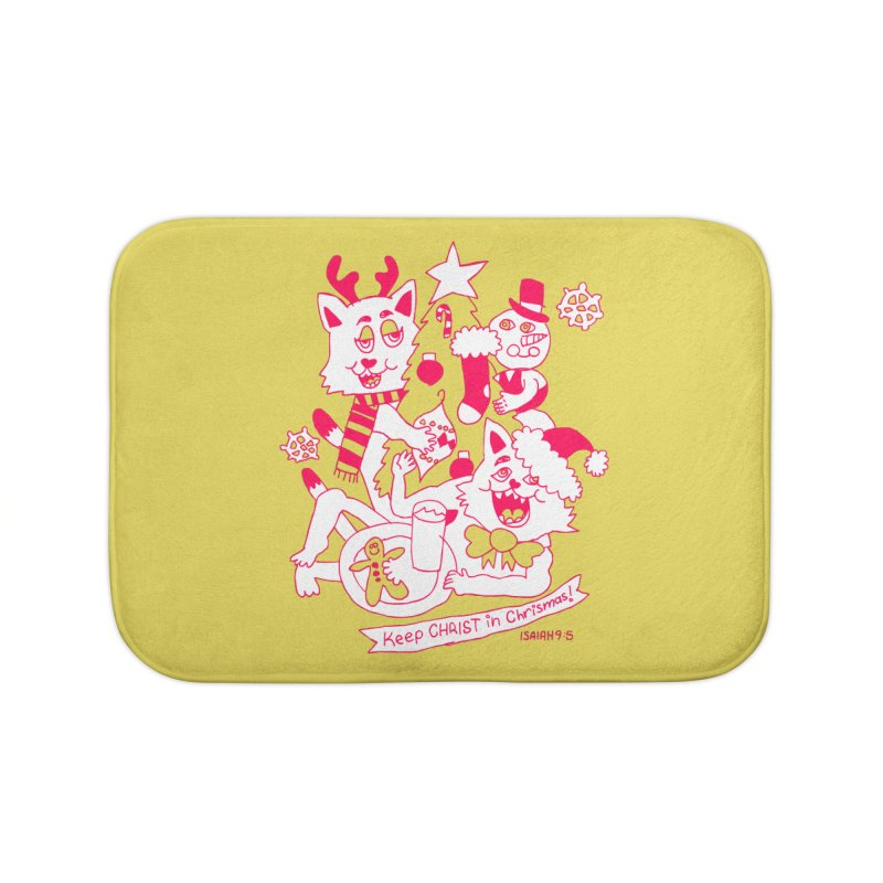 Catfriend Chrismas Lovers Home Bath Mat by Spencer Fruhling's Artist Shop