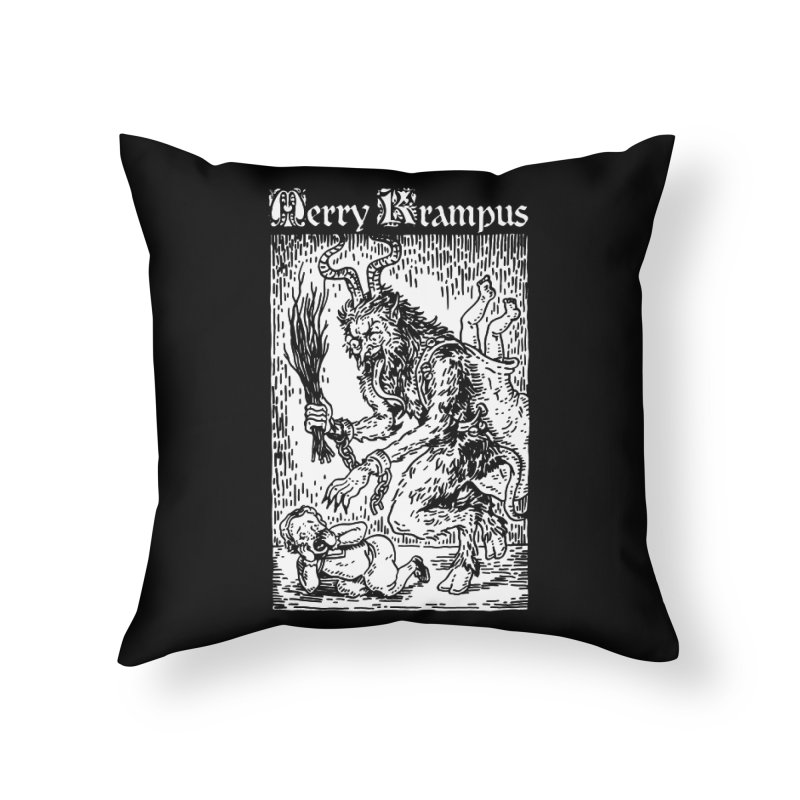 Merry Krampus Home Throw Pillow by Spencer Fruhling's Artist Shop