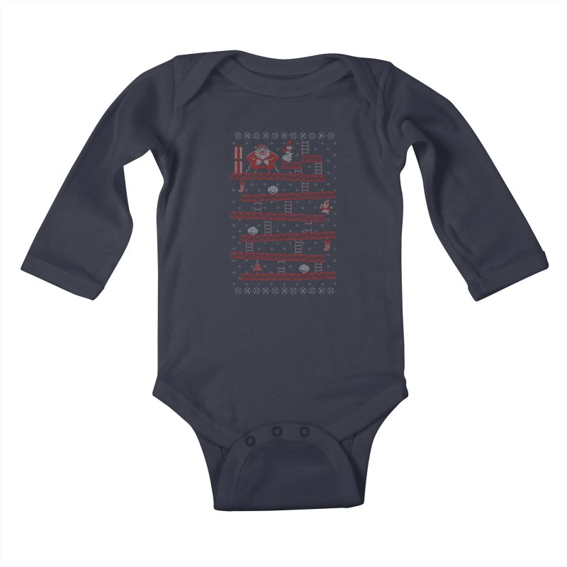 Santa Kong Kids Baby Longsleeve Bodysuit by Spencer Fruhling's Artist Shop