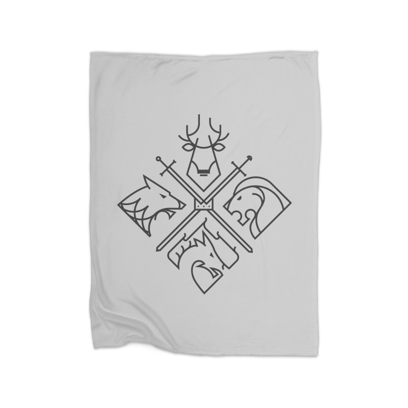 Minimal Thrones Black edition Home Fleece Blanket by spike00