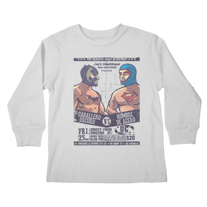 Caballero Oscuro VS Hombre de Acero Kids Longsleeve T-Shirt by spike00