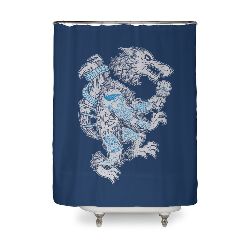 wolf spoiler crest Home Shower Curtain by spike00