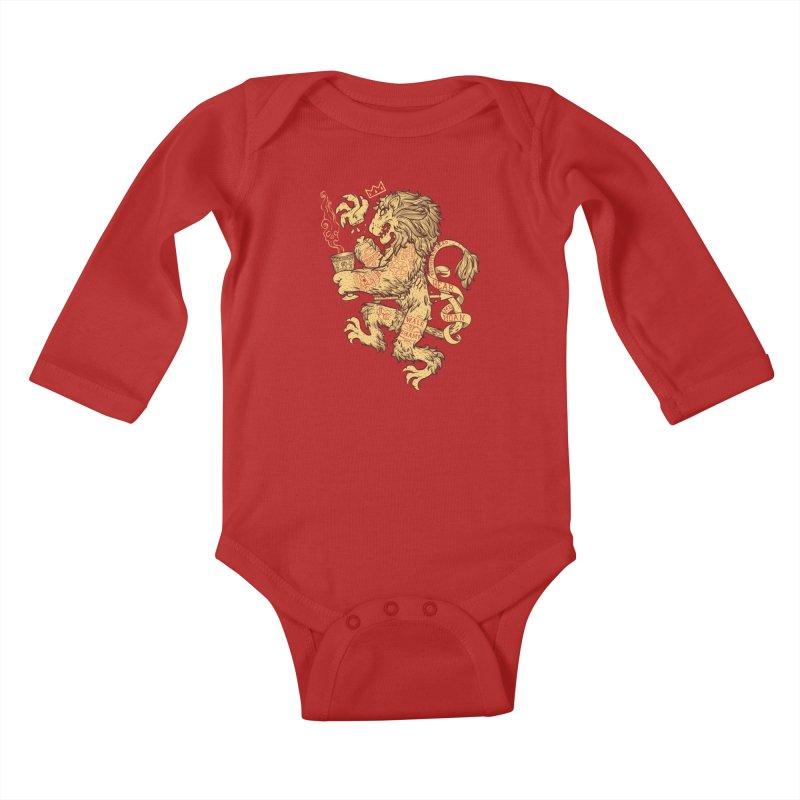 Lion Spoiler Crest Kids Baby Longsleeve Bodysuit by spike00