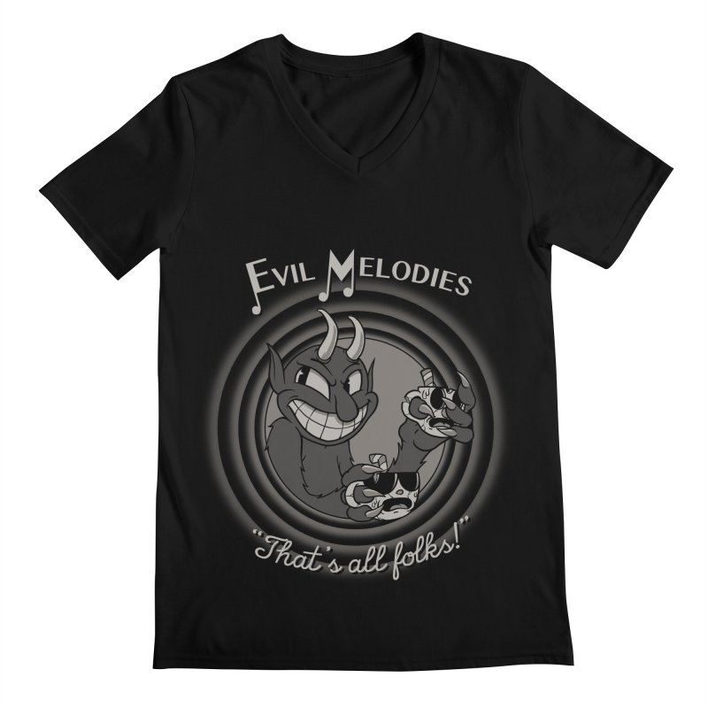 Evil Melodies Men's Regular V-Neck by spike00