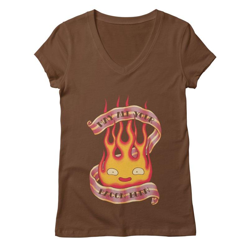 Bacon Burner Women's V-Neck by spike00