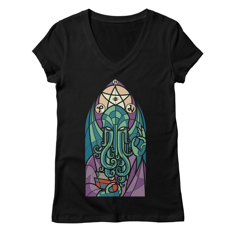 Cthulhu's Church Women's V-Neck by spike00