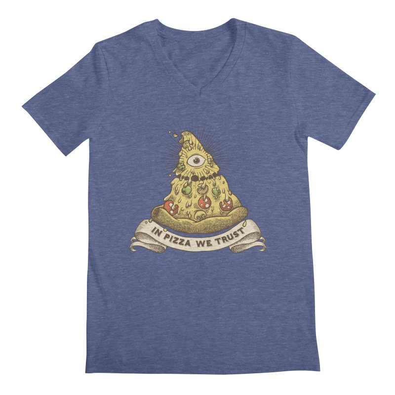 in Pizza we trust Men's Regular V-Neck by spike00