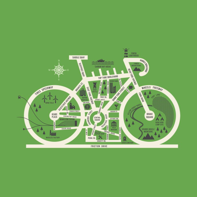 Bike City Map Men's Longsleeve T-Shirt by spike00