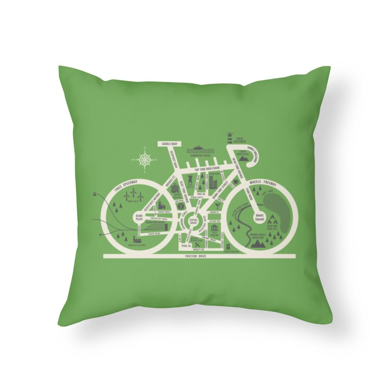 Bike City Map Home Throw Pillow by spike00