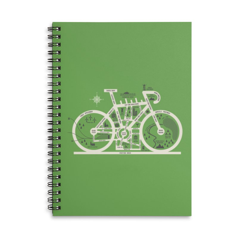 Bike City Map Accessories Lined Spiral Notebook by spike00
