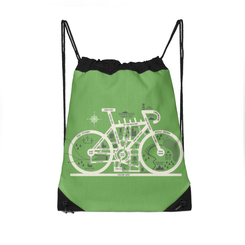 Bike City Map Accessories Drawstring Bag Bag by spike00