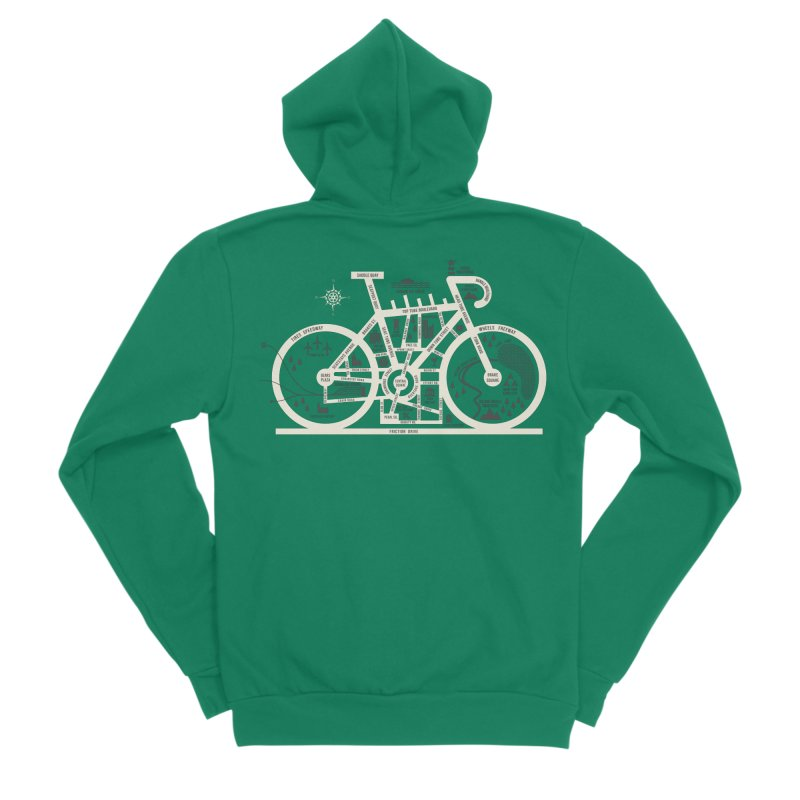 Bike City Map Women's Sponge Fleece Zip-Up Hoody by spike00