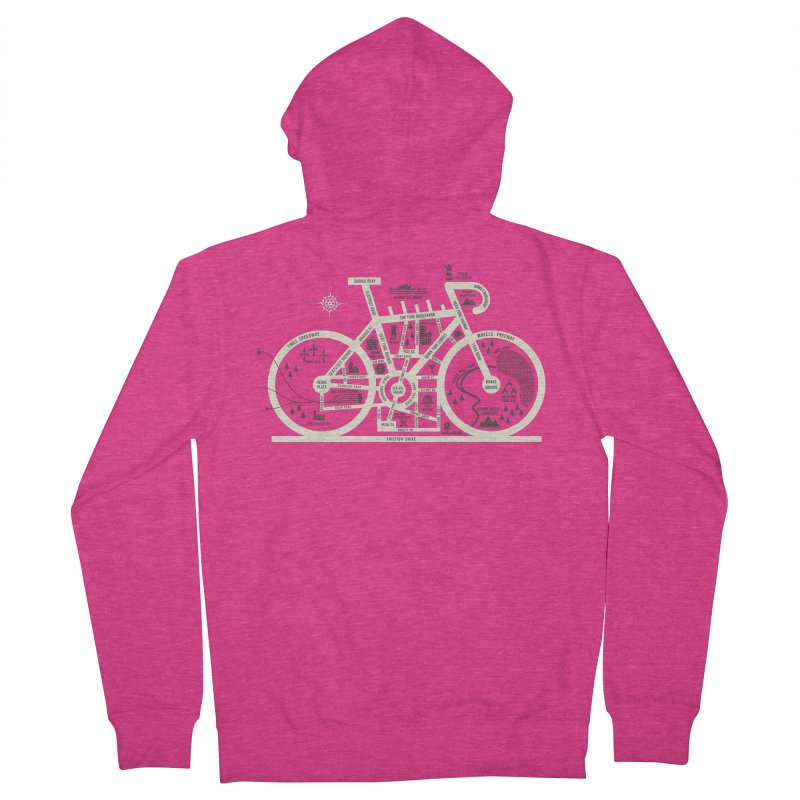 Bike City Map Women's French Terry Zip-Up Hoody by spike00