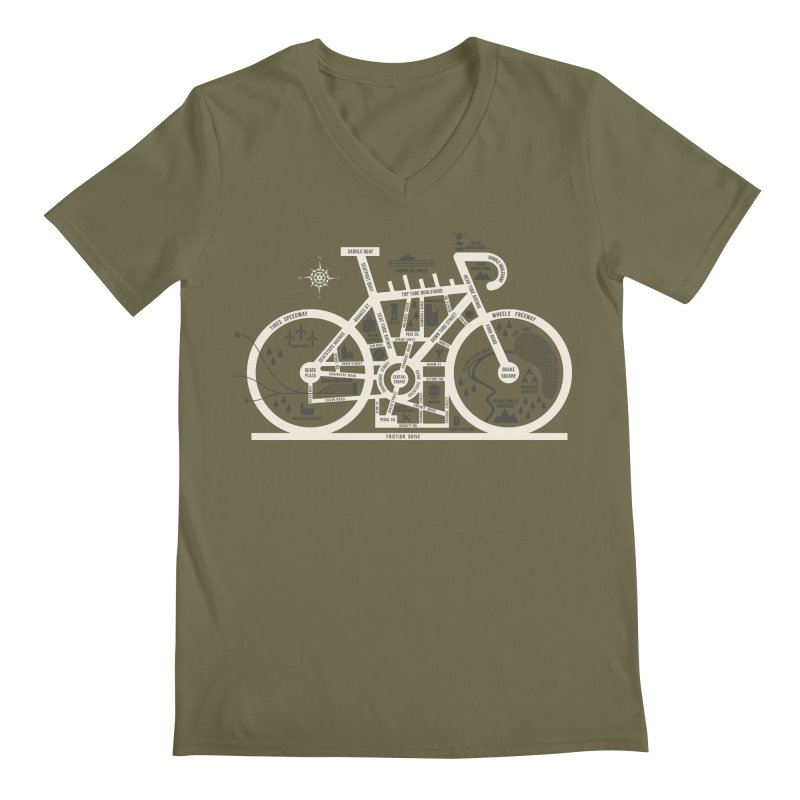Bike City Map Men's Regular V-Neck by spike00