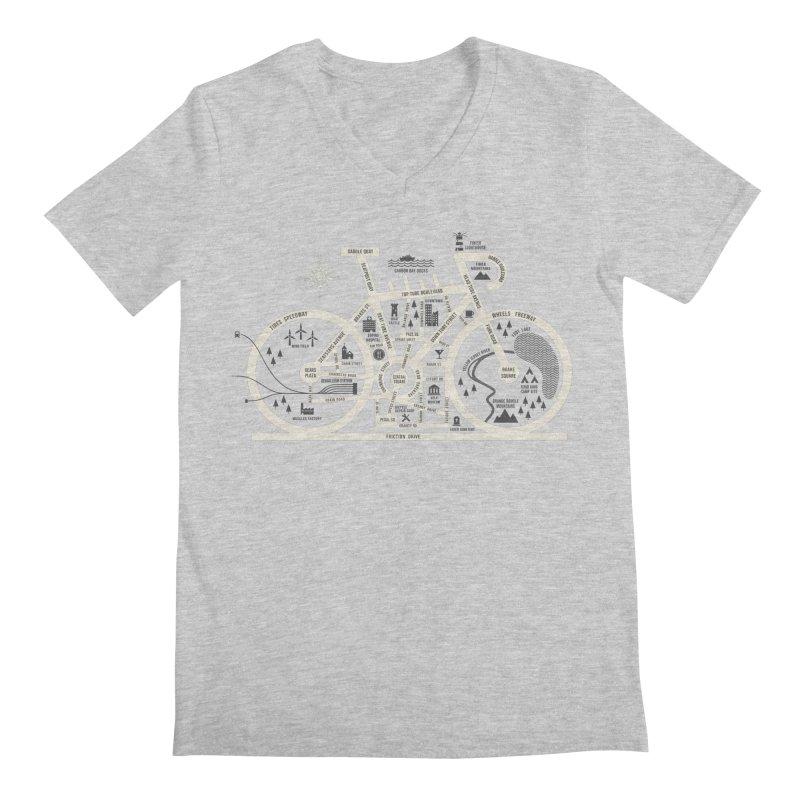 Bike City Map Men's Regular V-Neck by spike00