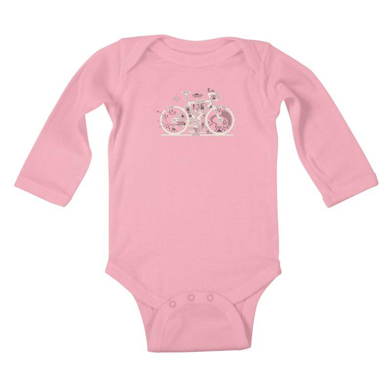 Bike City Map Kids Baby Longsleeve Bodysuit by spike00