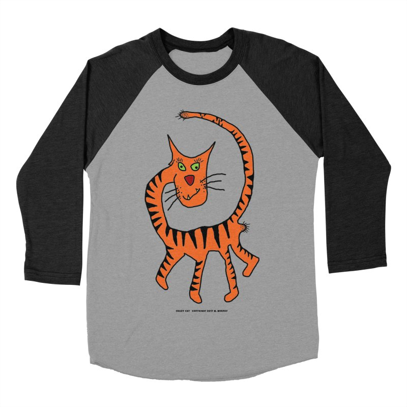 Crazy Cat Women's Baseball Triblend Longsleeve T-Shirt by Spiral Saint - Artist Shop