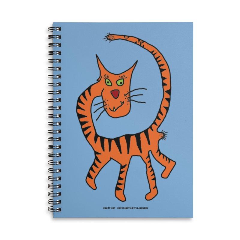 Crazy Cat Accessories Lined Spiral Notebook by Spiral Saint - Artist Shop