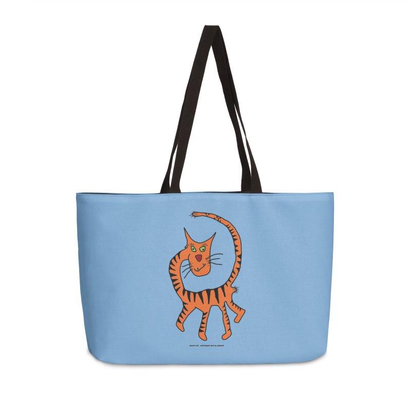 Crazy Cat Accessories Weekender Bag Bag by Spiral Saint - Artist Shop
