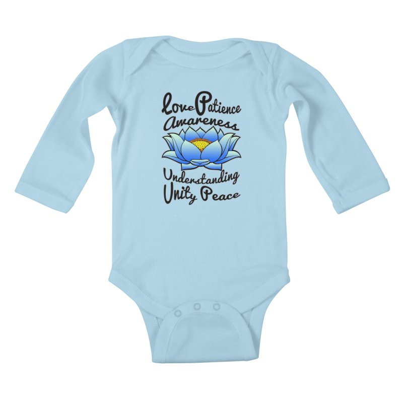 The Lotus Blossom Kids Baby Longsleeve Bodysuit by Spiral Saint - Artist Shop