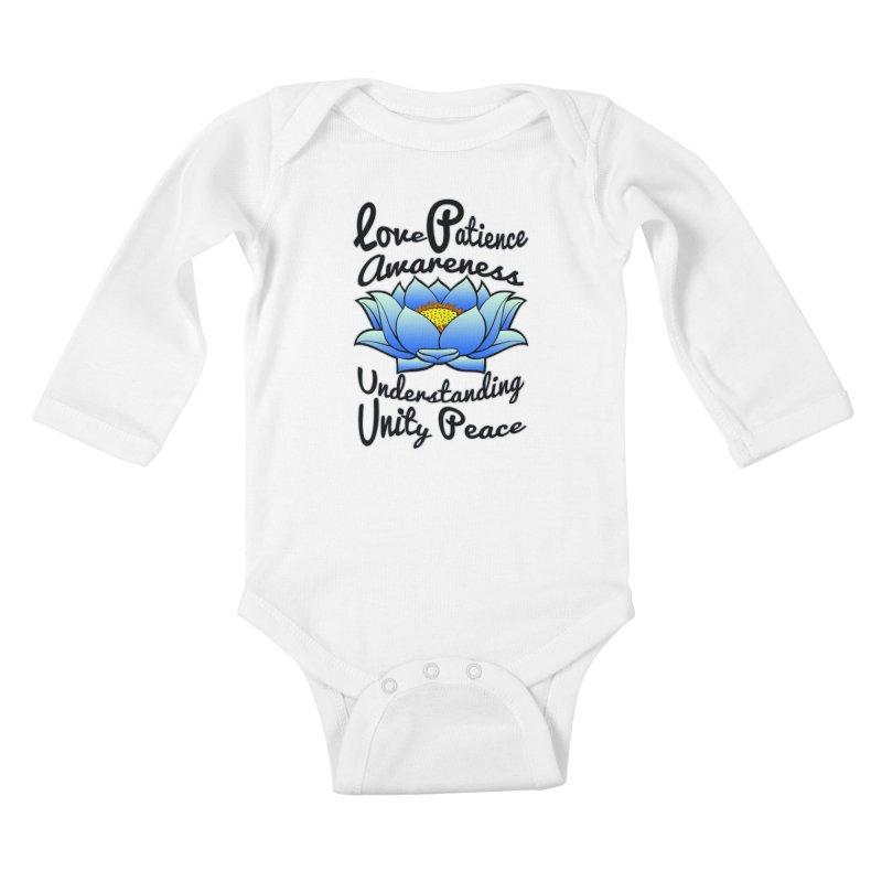 The Lotus Blossom Kids Baby Longsleeve Bodysuit by Spiral Saint - Artist Shop