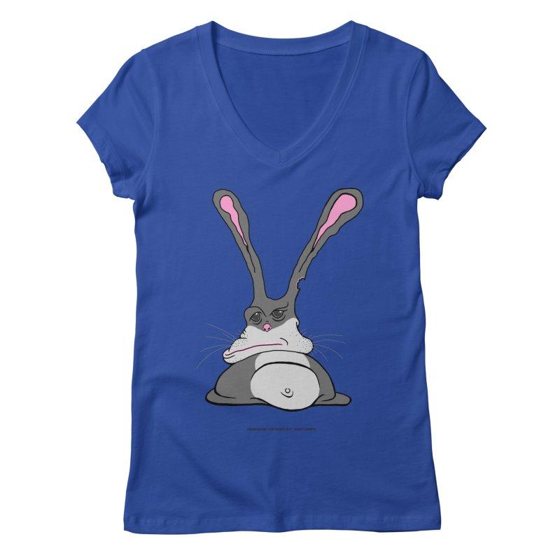 Chubs Bunny Women's V-Neck by Spiral Saint - Artist Shop