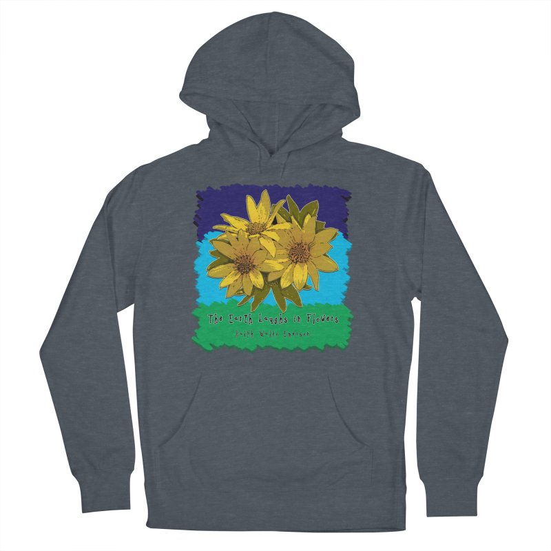 Laughing Earth Flowers Men's French Terry Pullover Hoody by Spiral Saint - Artist Shop