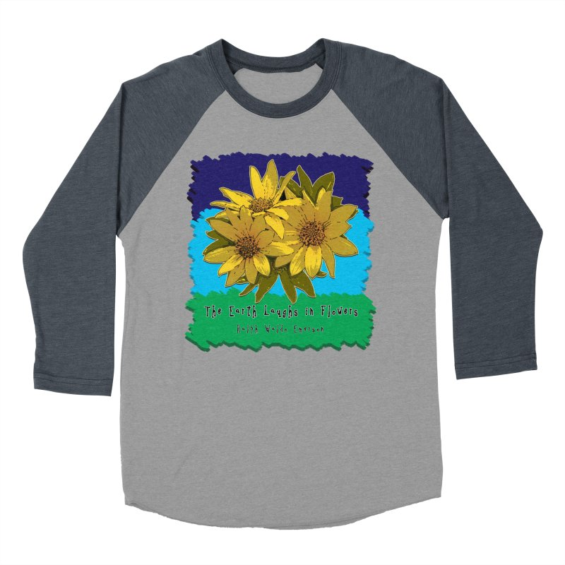 Laughing Earth Flowers Men's Baseball Triblend T-Shirt by Spiral Saint - Artist Shop