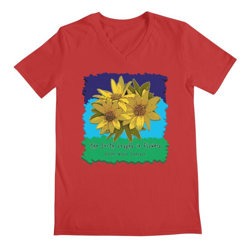 Laughing Earth Flowers Men's Regular V-Neck by Spiral Saint - Artist Shop