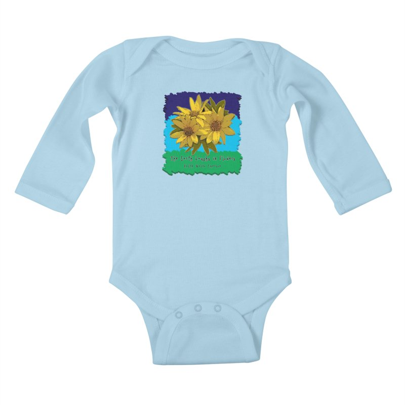 Laughing Earth Flowers Kids Baby Longsleeve Bodysuit by Spiral Saint - Artist Shop