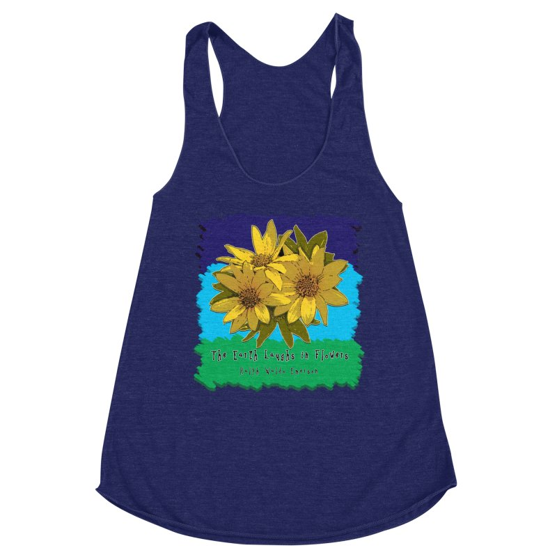 Laughing Earth Flowers Women's Racerback Triblend Tank by Spiral Saint - Artist Shop