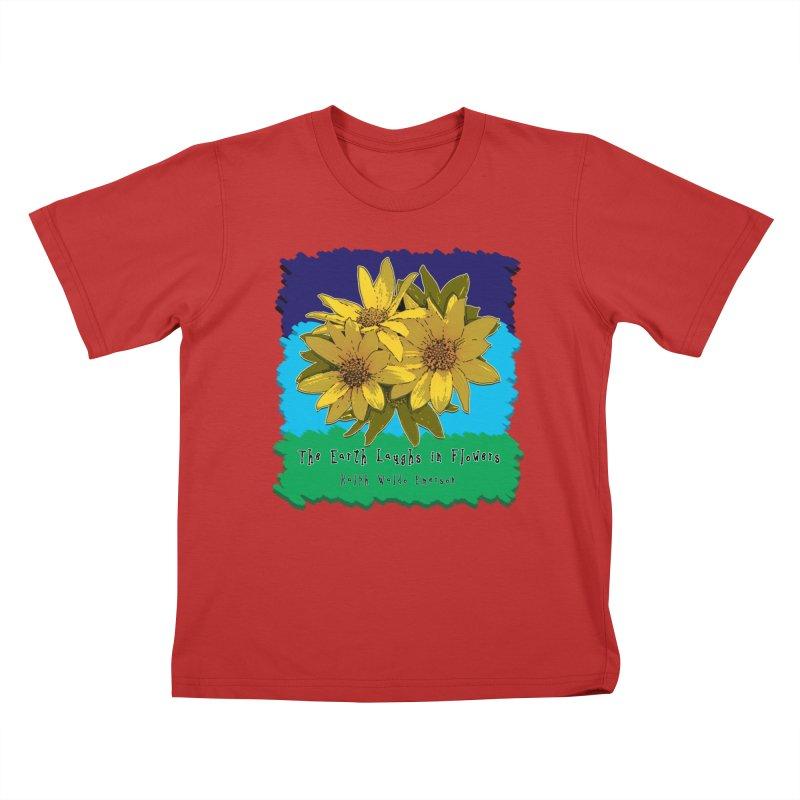 Laughing Earth Flowers Kids T-Shirt by Spiral Saint - Artist Shop