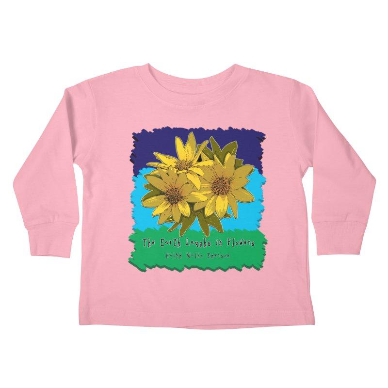 Laughing Earth Flowers Kids Toddler Longsleeve T-Shirt by Spiral Saint - Artist Shop