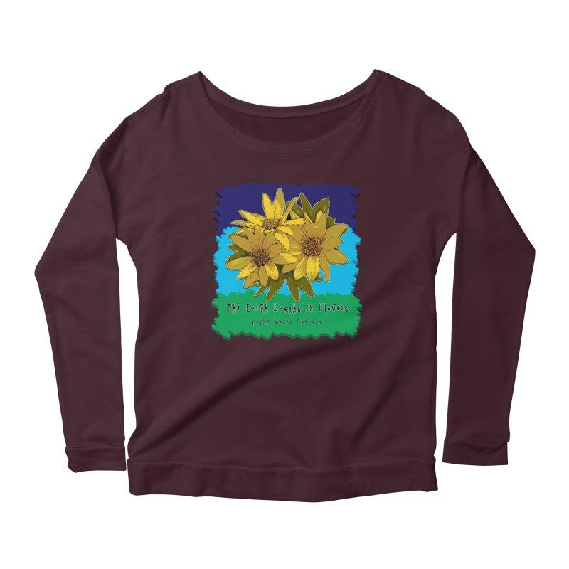 Laughing Earth Flowers Women's Scoop Neck Longsleeve T-Shirt by Spiral Saint - Artist Shop