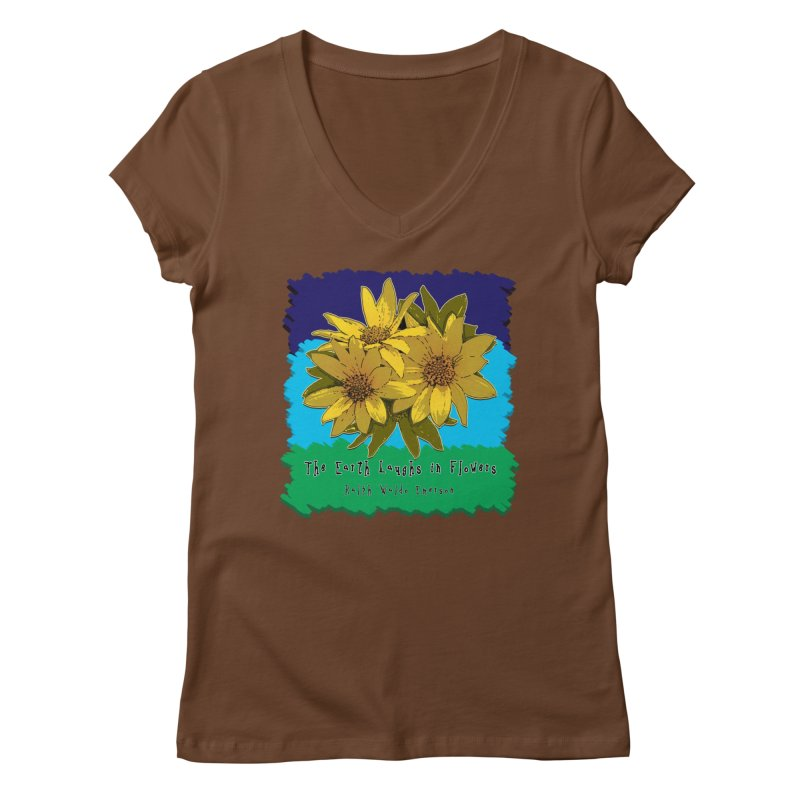 Laughing Earth Flowers Women's Regular V-Neck by Spiral Saint - Artist Shop