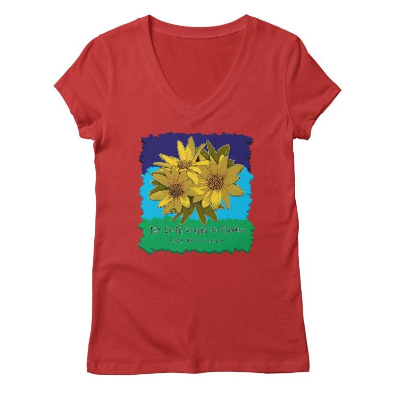 Laughing Earth Flowers Women's Regular V-Neck by Spiral Saint - Artist Shop