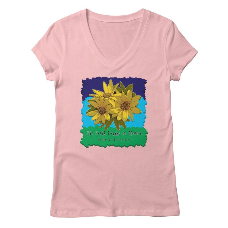 Laughing Earth Flowers Women's V-Neck by Spiral Saint - Artist Shop