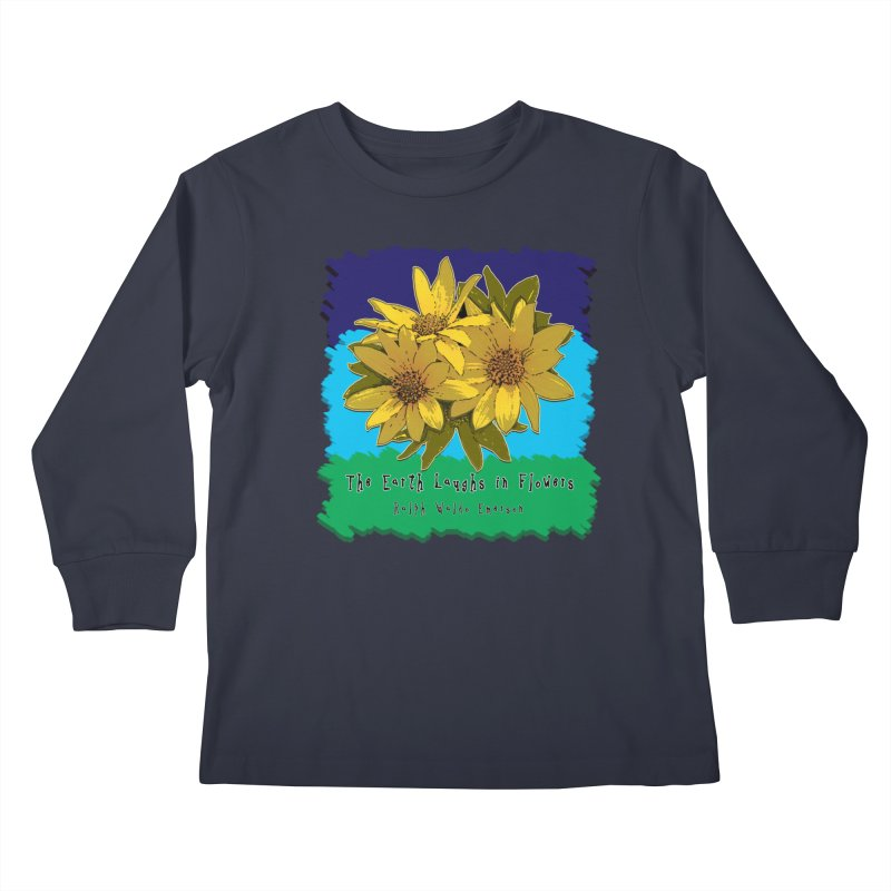 Laughing Earth Flowers Kids Longsleeve T-Shirt by Spiral Saint - Artist Shop
