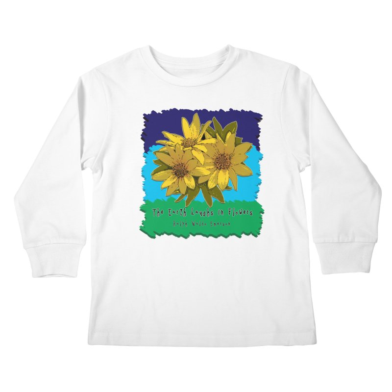 Laughing Earth Flowers Kids Longsleeve T-Shirt by Spiral Saint - Artist Shop