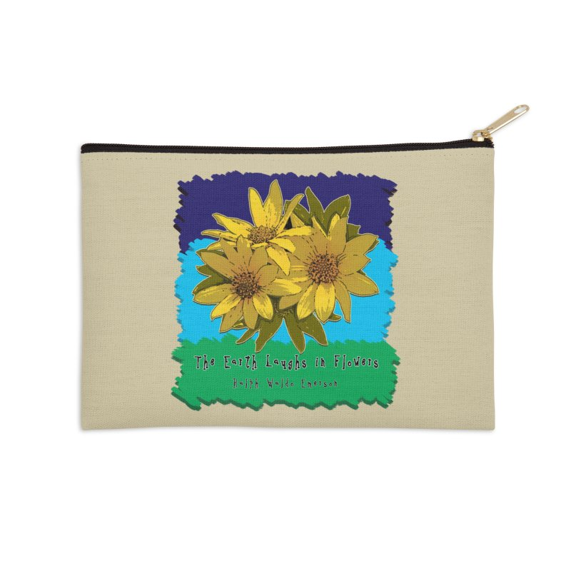 Laughing Earth Flowers Accessories Zip Pouch by Spiral Saint - Artist Shop