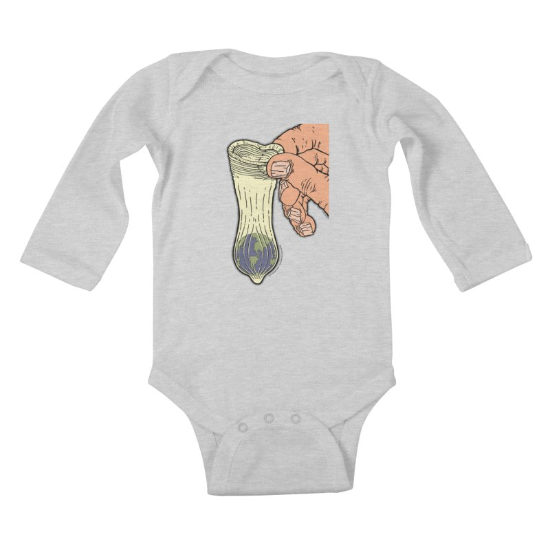 This Condom Earth Kids Baby Longsleeve Bodysuit by Spiral Saint - Artist Shop