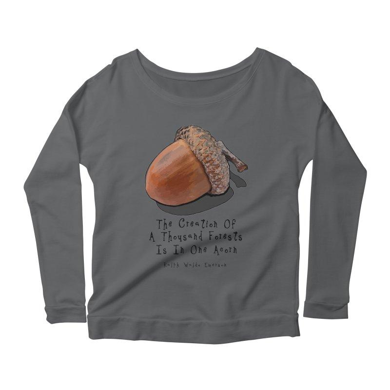 One Acorn Women's Scoop Neck Longsleeve T-Shirt by Spiral Saint - Artist Shop