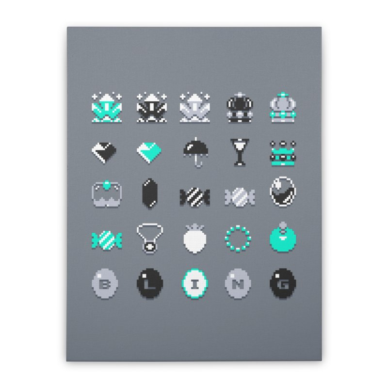 8-Bit Bling Home Stretched Canvas by Spires Artist Shop