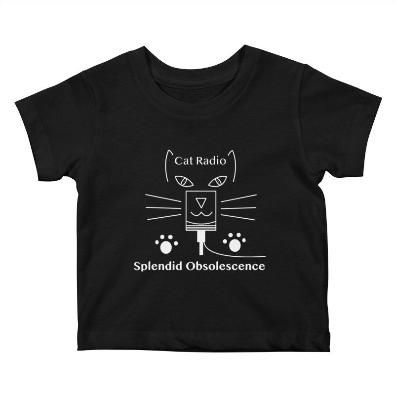 Cat Radio Album Cover - Splendid Obsolescence Kids Baby T-Shirt by Splendid Obsolescence