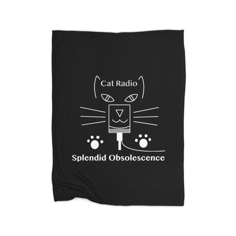 Cat Radio Album Cover - Splendid Obsolescence Home Fleece Blanket Blanket by Splendid Obsolescence