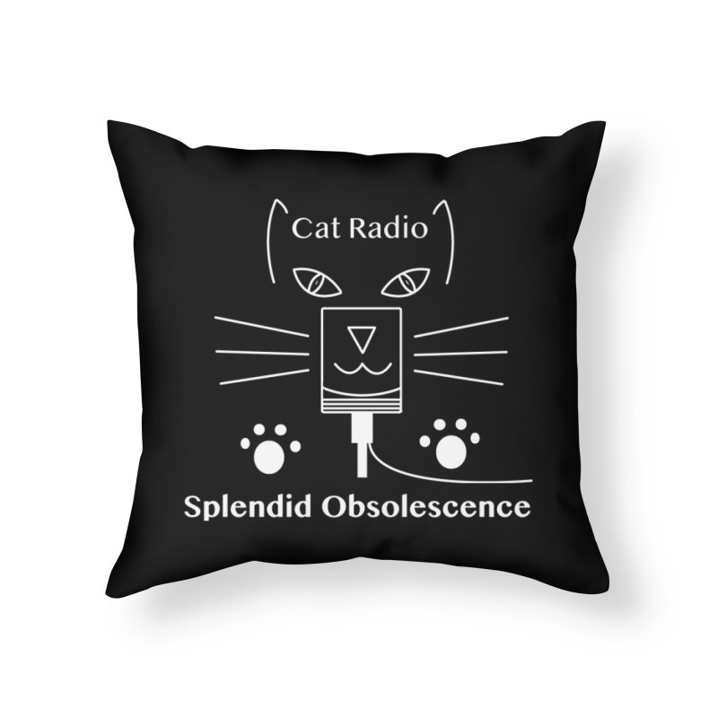 Cat Radio Album Cover - Splendid Obsolescence Home Throw Pillow by Splendid Obsolescence