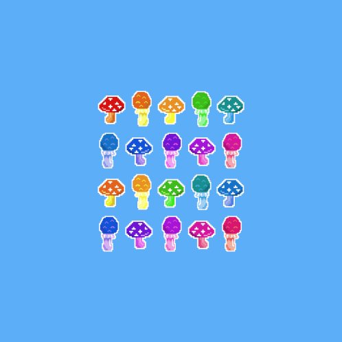 Design for Rainbow Pixel Mushrooms