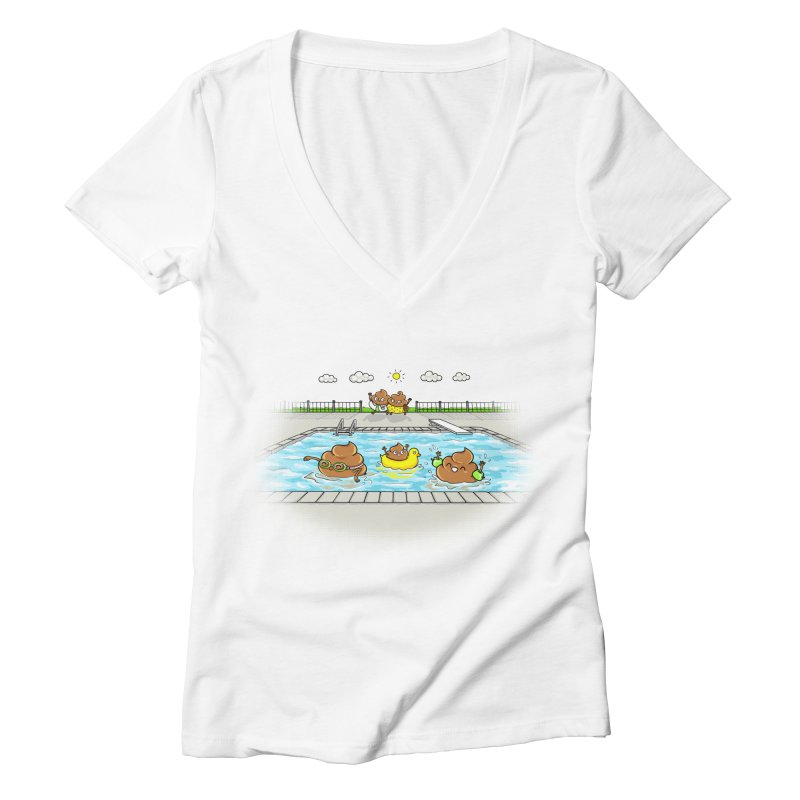 Dropping The Kids Off Women's V-Neck by spookylili